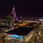 Dworzec Centralny i Pałac Kultury w Warszawie - nocne zdjęcia z drona.
