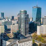 Zdjęcia Centrum Warszawy z drona - biurowce Q22 i Spektrum Tower.