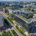 Ulica Domaniewska - zdjęcie z drona Ambassador Office Building - Mokotów.